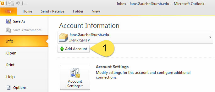 Adding a Connect G Suite Account to Outlook 2010 Using IMAP