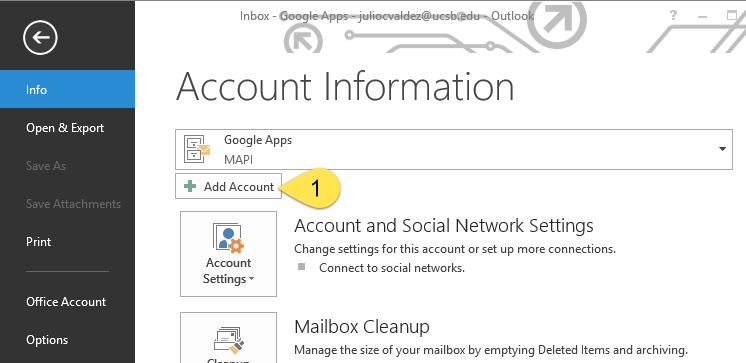 Adding a Connect G Suite Account to Outlook 2013 Using IMAP